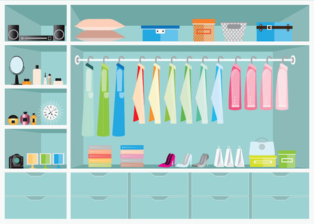 walk in closet: Flat Design walk in closet with shelves for accessories and cosmetic make up, interior design, Clothing store, Boutique indoor of womans cloths, conceptual Vector illustration.