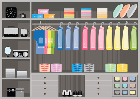 Flat Design walk in closet, interior design, Clothing store, Boutique indoor of men's cloths, Vector illustration. 向量圖像