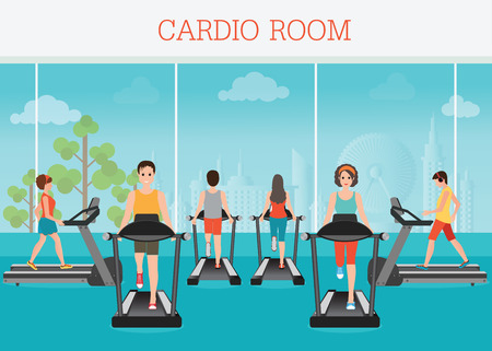 young adult: Young adult man and woman running on treadmill in gym interior, sport fitness, athletics, healthy lifestyle. Cartoon character Vector illustration.