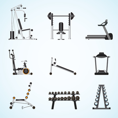 gymnasium: Fitness gym equipment isolated on background, gymnasium sport fitness, athletics, healthy lifestyle,flat design Vector illustration. Illustration