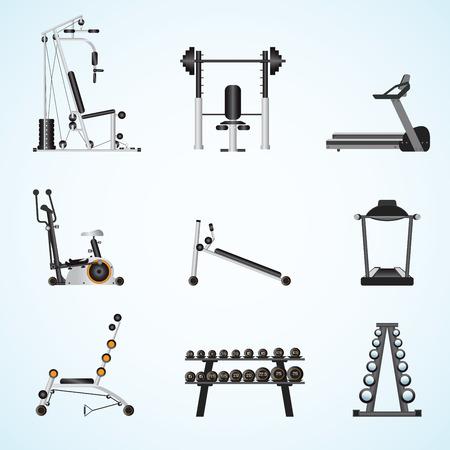 athletics: Fitness gym equipment isolated on background, gymnasium sport fitness, athletics, healthy lifestyle,flat design Vector illustration. Illustration