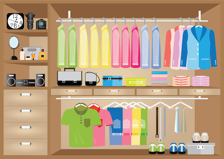 walk in closet: Flat Design walk in closet, interior design, Clothing store, Boutique indoor of mens cloths, Vector illustration. Illustration