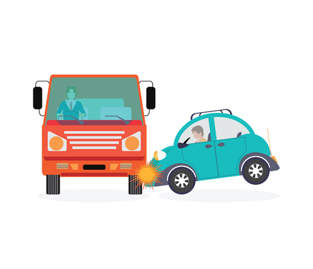 drunk test: Car crash, accident car isolated on white background, conceptual Vector Illustration.