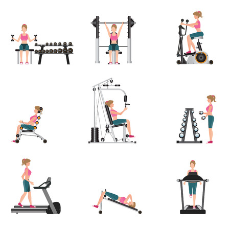 gymnasium: Fitness cardio exercise and equipment with young women isolated on white background, gymnasium sport fitness, athletics, healthy lifestyle,character Vector illustration.