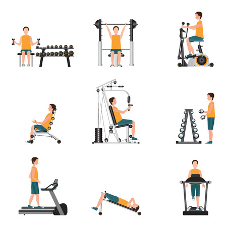 Fitness cardio exercise and equipment with young man isolated on white background, gymnasium sport fitness, athletics, healthy lifestyle,character Vector illustration.