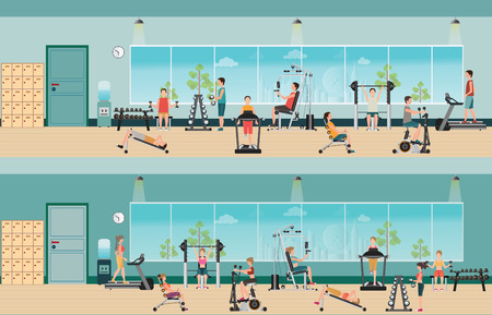 gymnasium: Fitness cardio exercise and equipment with people in fitness gym interior, gymnasium sport fitness, athletics, healthy lifestyle,character Vector illustration.