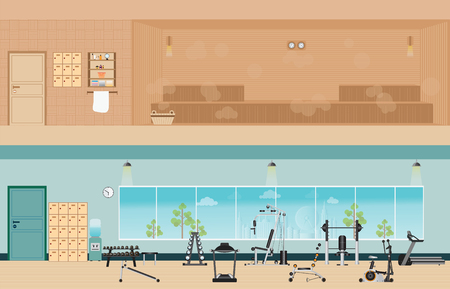 sauna: Set of fitness gym interior with equipment and sauna interior or steam room flat design Vector illustration.