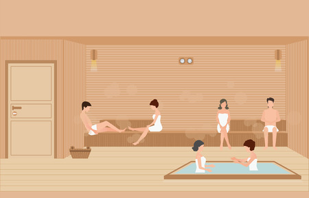 People wearing towels enjoys in sauna steam room,healthy lifestyle flat design character vector illustration.