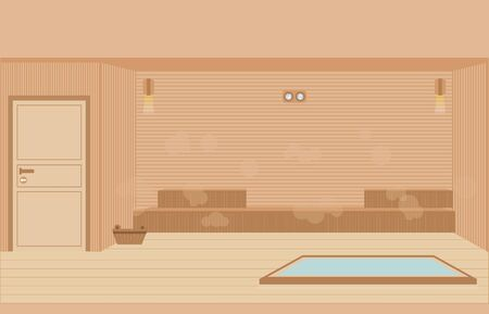 Sauna steam room ,sauna interior flat design character vector illustration.