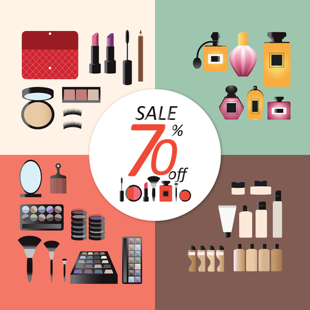 bases: Discount sale Makeup design concept set with eye shadows cosmetic bases,perfume, tools and skincare flat icons vector illustration.