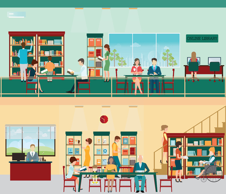 Various character of people in Bookstore or library with bookshelves, adult and teenager, business people and wheel chair of disabled woman, vector illustration. 矢量图像