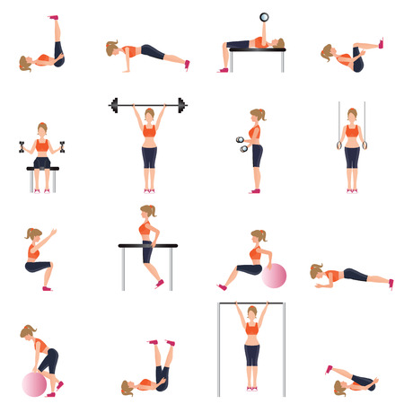 gymnasium: Fitness cardio exercise and equipment for woman sport isolated on white background, Workout, gymnasium sport fitness, athletics, healthy lifestyle,character Vector illustration.