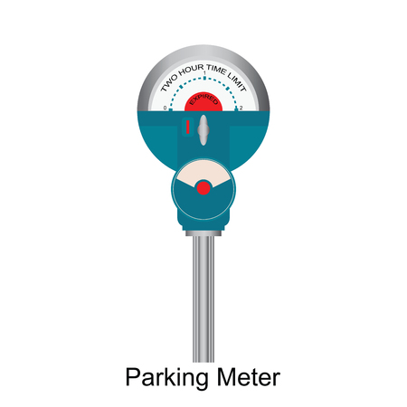 Expired Retro Parking meter isolated on white background, vector illustration.