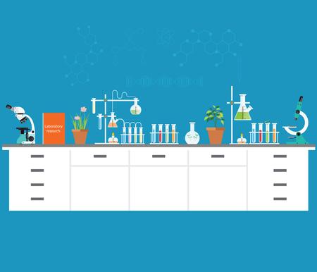 la science chimique de laboratoire et de la technologie, les scientifiques concept de lieu de travail. L'enseignement des sciences, chimie, expérience, le concept de laboratoire design plat illustration vectorielle. Vecteurs