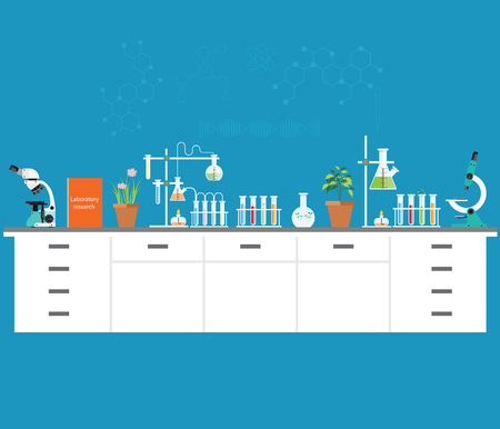 Chemical laboratory science and technology, Scientists workplace concept. Science education, chemistry, experiment, laboratory concept flat design vector illustration.