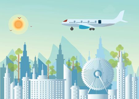 Morning city skyline on city view background and mountains, Buildings silhouette cityscape with Plane flying over urban city, flat design Vector illustration