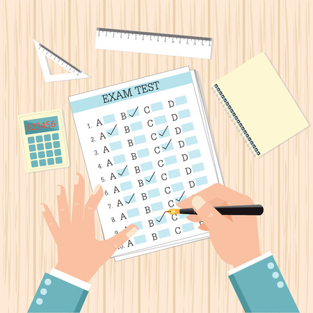 test results: School exam test results, human hand fills examination quiz paper on wooden school desk with pen, calculator, ruler and book, vector illustration in flat design. Illustration