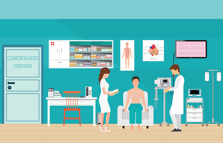blood pressure monitor: ECG Test or The Cardiac Test, cardiology center room interior with blood pressure monitor, healthy and medical flat design vector illustration. Illustration