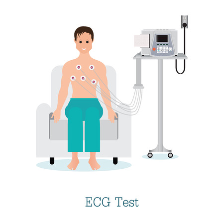 cardiograph: ECG Test or The Cardiac Test with patient, healthy and medical flat design vector illustration.