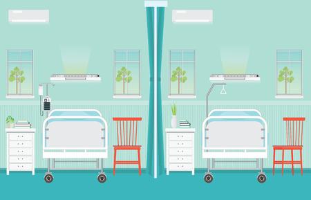 Interior de la sala sala de hospital con camas, sillas, cama Control lateral, bomba de infusión, bolsa de infusión, la asistencia sanitaria ilustración vectorial médica.
