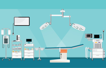 intensive care: Medical hospital surgery operation with medical equipment , blood pressure; heart monitor; mechanical ventilator; infusion pump; infusion bag, room interior medical health care vector illustration.
