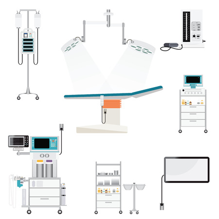 Medical hospital with medical equipment , blood pressure; heart monitor; mechanical ventilator; infusion pump; infusion bag, medical health care vector illustration. Stock Illustratie