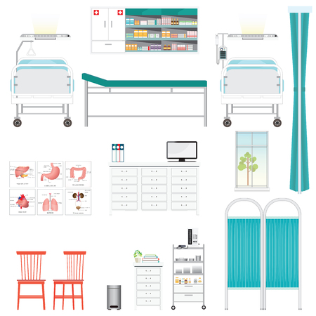 infusion: Medical equipment and furniture in hospital, counter, chairs,Bed Side Control, infusion pump, disable bed, infusion bag, medical health care vector illustration.