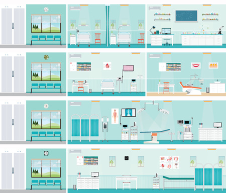 hospital ward: Medical hospital surgery operation room, post-operation ward, laboratory, medical check up interior room,ECG Test or cardiology center room interior, dental care  interior building health care conceptual vector illustration. Illustration