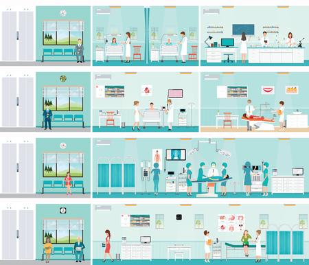 Patiënt en arts in het ziekenhuis, operatie operatiekamer, post-operatie afdeling, laboratorium, medische check-up interieur kamer, ECG Test of cardiologie centrum kamer interieur, tandheelkundige zorg, karakters gezondheidszorg vector illustratie. Vector Illustratie