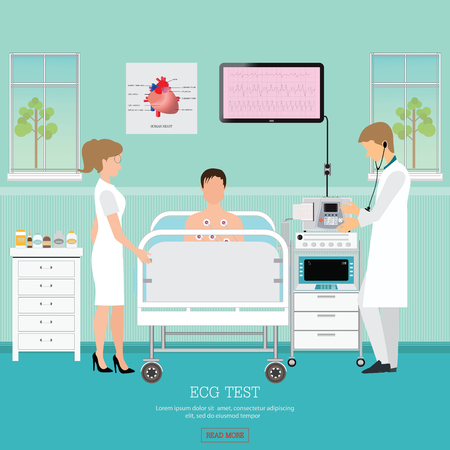 cardiac: ECG Test or The Cardiac Test, cardiology center room interior with blood pressure monitor, healthy and medical flat design vector illustration. Illustration