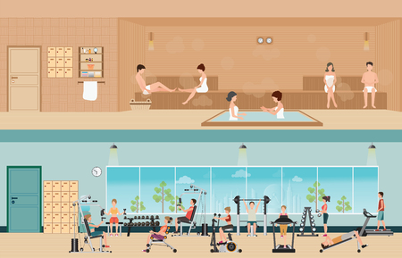 sauna: Set of people in fitness gym interior with equipment and sauna interior or steam room, charactors flat design Vector illustration.