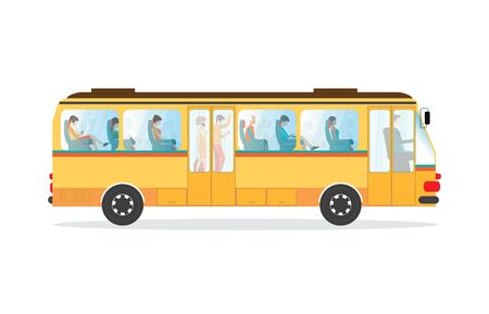 family van: Passengers in public transport bus , People in bus isolated on white , conceptual Transport interior vector illustration.