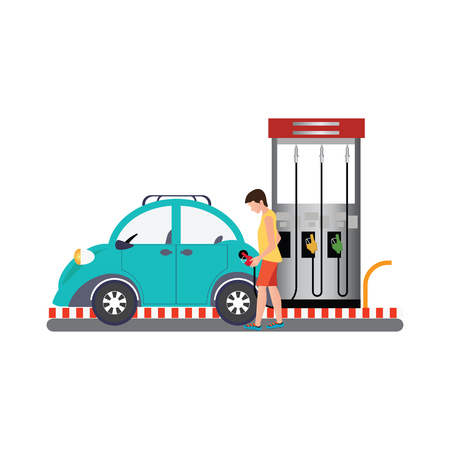 gas man: Man filling up fuel into the car at the gas pump, The Petrol station conceptual flat design vector illustration.