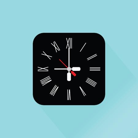 past midnight: Modern Black Wall Clock, flat design vector illustration. Illustration