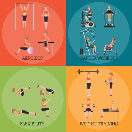shaping: Set of fitness aerobic strength and body shaping exercises, sport banner vector illustration.