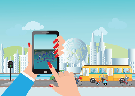 using smart phone: Smart city and smart phone application using location information, hand hold smart phone, vector illustration.