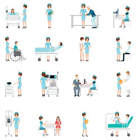 Verpleegkundige zorg decoratieve pictogrammen instellen met de patiënten nodig hebben in medische hulp, karakter cartoon platte ontwerp vector illustratie.