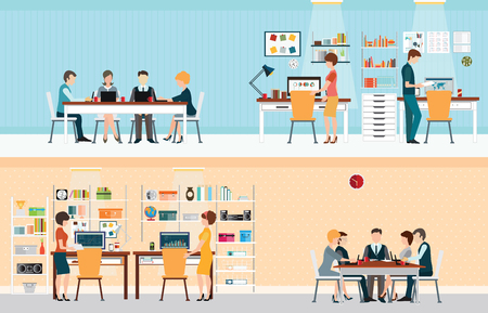 xerox: Office people with office desk and Business meeting or teamwork, brainstorming in flat style vector illustration. Illustration