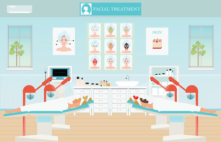 facial steamer: Spa facial massage treatment with ozone facial steamer on bed in spa center,interior, women facing the steam, beauty conceptual vector illustration. Illustration