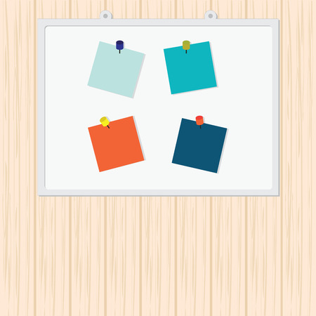 post it note: Blank Colorful Sticky Notes, Post it note with pin on board on wood background, vector illustration.