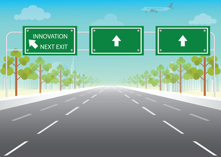 tarmac: Road sign with innovation next exit words on highway, conceptual flat design vector illustration. Illustration
