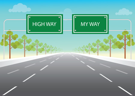 high road: Road sign with my way and high way words on highway, conceptual flat design vector illustration.
