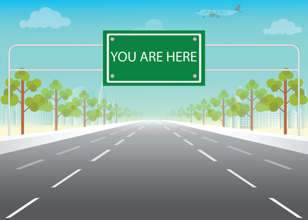 Road sign with you are here words on highway, conceptual flat design vector illustration.