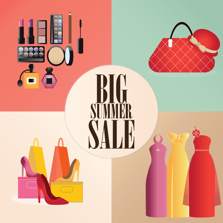 Discount big summer sale set with clothes, bag,shoes and Makeup, shopping design concept flat icons vector illustration. Illustration