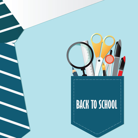office supply: Shirt of Back to school conceptual with office supply,Pencils ,Pens , Ruler,scissor ,dividers and magnifying glass, vector illustration. Illustration