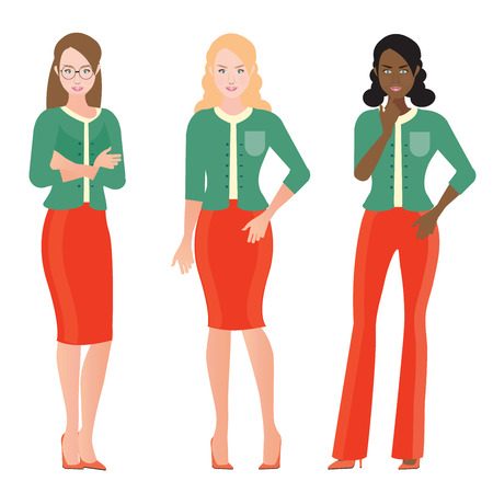 Business Women in smart suit ,office workers or teamwork  Cartoon character business people vector illustration.