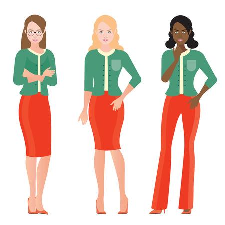 Zakelijke vrouwen in slimme pak, kantoorpersoneel of teamwerk Cartoon karakter zakelijke mensen vector illustratie.