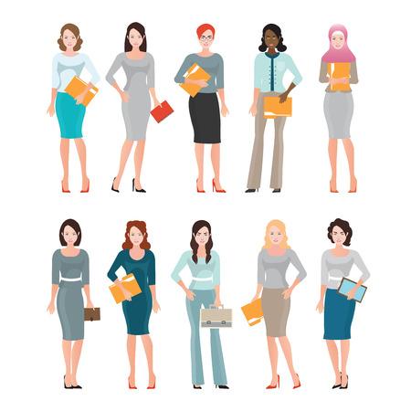 Negocios Mujeres en juego inteligente aislado en blanco, Diversas personas de sexo femenino, empleados de oficina o ilustración hombres de negocios personaje de dibujos animados vector de trabajo en equipo.