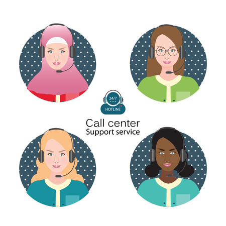 headset business: Diverse people of Female customer support operator with headset and smiling,  Cartoon character business people vector illustration. Illustration