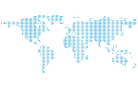 Dotted World Map, Template with blue points isolated on white background, Flat Earth Graph vector illustration.
